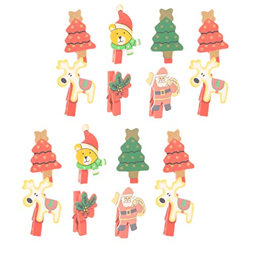 STOBOK Clips de Madera de Navidad Mini Clips de Fotos de Árboles...