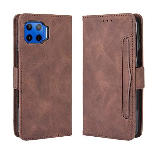 Lederhülle für Motorola Moto G 5G Plus Hülle, Flip Hülle Schutzhülle Handy mit Kartenfach Stand & Magnet Funktion als Brieftasche, Tasche Cover Etui Handyhülle für Motorola Moto G 5G Plus, Brown