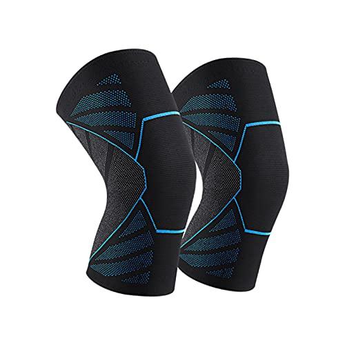 2 Stück Sport Kniestütze für Männer Damen, Rutschfest Atmungsaktiv Bandage Knie Meniskus Arthrose Gegen Knieschmerze Kompression Knieschoner für Basketball, Volleyball, Laufen, Wandern(M)
