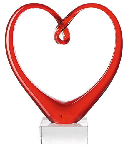 Leonardo Heart Skulptur rot, B/H/T: 21/24/8 cm, handgefertigtes Farbglas, 090871