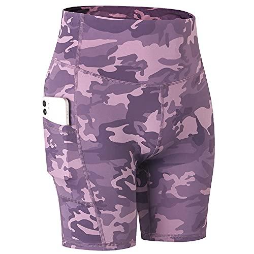 Huntrly Pantalones Cortos para Mujer Tendencia a la Moda Estampado con Bolsillos Pantalones Cortos Deportivos de Secado rápido elásticos de Color Nude XL