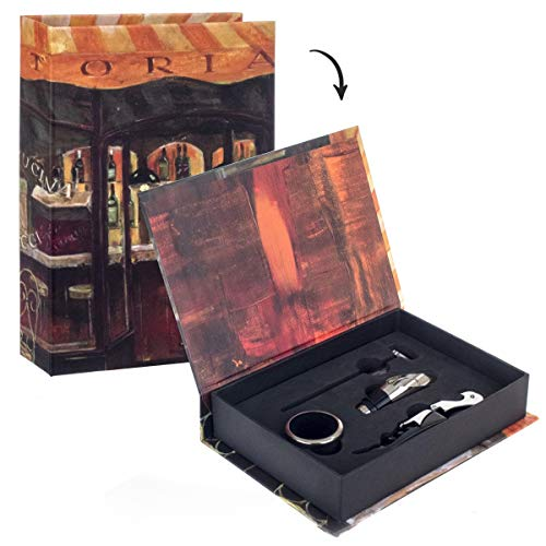 Vidal Regalos Caja Forma de Libro con 4 Accesorios para Vino 20x14 cm