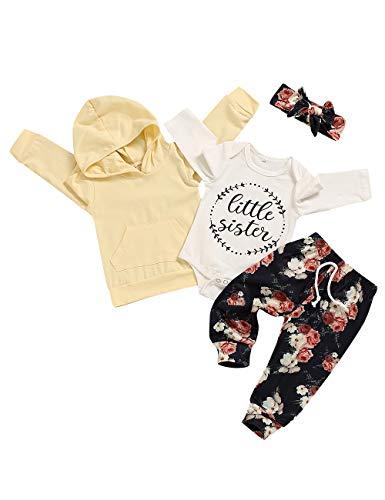 Infant Toddler Baby Girl Clothes Hoodie Sweatshirt Little Sister Romper Floral Pant Headband 4Pcs Set 3-6 Months