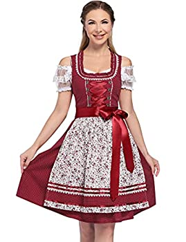 GloryStar Women s German Dirndl Dress Traditional Bavarian Oktoberfest Costumes for Halloween Carnival 3 Pieces Burgundy Part Floral XL