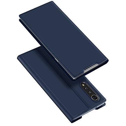 BaiFu Hülle für LG Velvet Lederhülle Flip Hülle mit Magnetischem Superdünnem seidigem Brieftasche Schutzhülle Kompatibel mit LG Velvet-Blau
