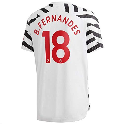 Jertinhf 2020-2021 Men's Third Soccer Jersey/Short Colour White (Manchester United B.Fernandes #18 (S))