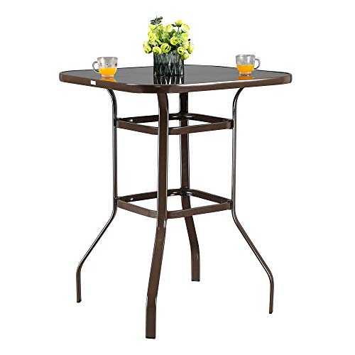 VINGLI Outdoor Bar Table Bistro Table Metal Frame Patio Bar Table, Tempered Glass Table Top All Weather Outdoor Bar Height (Brown)