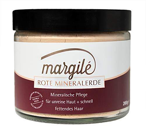 margilé rote Tonerde –Wascherde als (festes) Shampoo & für Gesichtsmasken – No Poo & clay mask mit Mineralerde – 200g im Glas