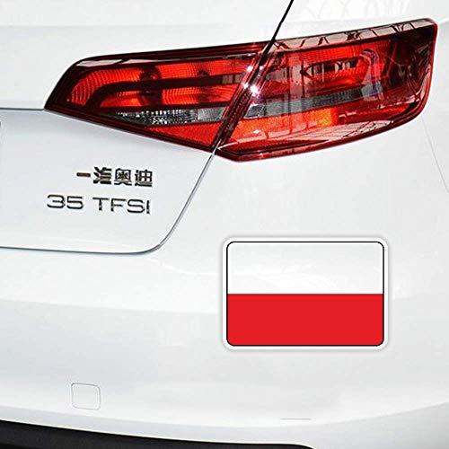 Persönlichkeit Sonnenschutz Auto Aufkleber Auto Fenster Polen Flagge Reflektierendes Fahrrad Anti UV Reflective Aufkleber, 12 cm * 8 cm