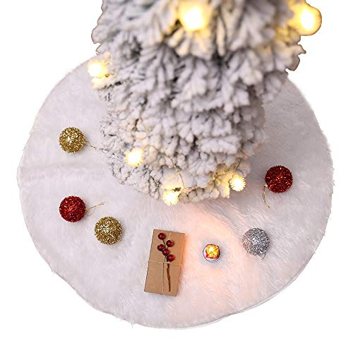 Submarine 150cm Baumdecke Weihnachtsbaum Rock Weiß Plüsch Tannenbaumdecke Weihnachtsbaumdecke Christbaumdecke Rund Teppich Baumrock Perfekt Weihnachtsdeko, um den Tannenbaumständer Abzudecken