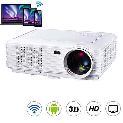 YRLE Android Smart Wireless proyector de Alta definición Stereo Imager, LED del teléfono móvil inalámbrica en la Pantalla del proyector, Conveniente para el hogar, de Encuentro, formación,Blanco