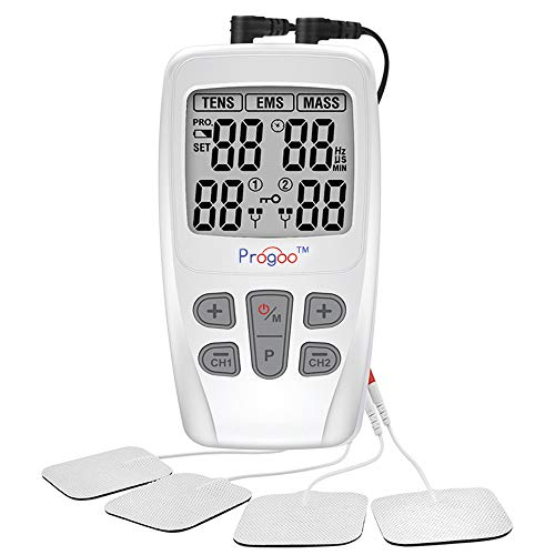 Progoo TENS Unit EMS Muscle Stimulator Pain Relief FDA Cleared Combo with 8 Reusable Electrodes, Teens&Seniors Unit for Pain,Free from Pain
