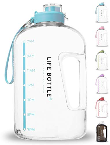Life Bottle! Time Marked Water Bottle - 1 Gallon Water Bottle with Time Marker - Extra Large Water Bottle/Water Jug Helps You Drink More Water! BPA Free Water Bottle with Leakproof Flip Top