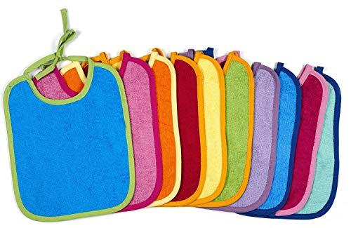 KiGATEX 10 x Babylätzchen aus 100% Baumwolle - Verstellbare Lätzchen - Extrem saugfähiger Frottee-Latz zum Binden - Öko-Tex zertifiziert - 30 x 40 cm