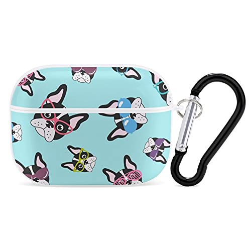 Cute French Bulldog with Sunglasses Compatible AirPods Pro Case Cover,Protective Shockproof Case with Keychain for Women Men for AirPods Pro 3 Wireless Charging Case White