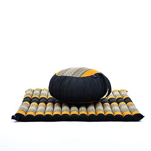 Leewadee Set de méditation - Set de méditation en kapok, Coussin et Tapis de méditation Zafu et Zabuton, Ensemble de 2 pièces, Noir Orange