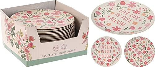 Platos de melamina, ideal para el jardín. Vajilla de melamina para 12 personas. Set de 12 platos. Apto para exterior, vajilla para picnic o camping