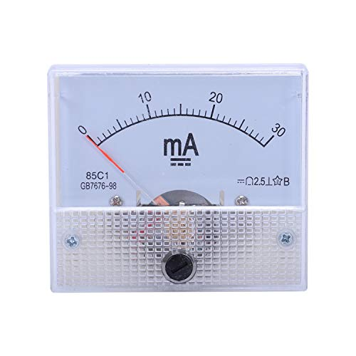 Yaootely 0-30MA Analog Current Panel Meter Ammeter 85C1 30MA, Weiss