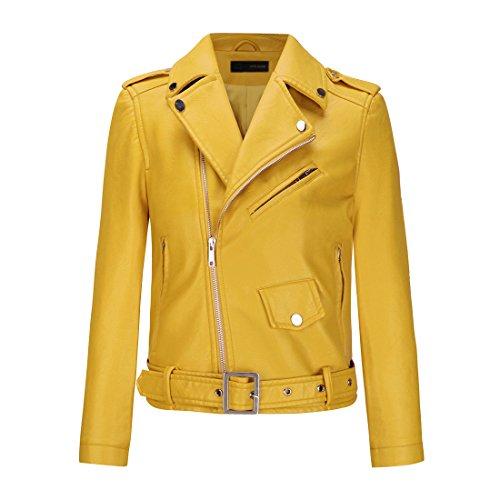 YoungSoul Cazadora Mujer, Chaqueta Biker de Cuero sintético con Cremallera asimétrica y cinturón Amarillo EU 38-40