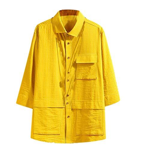 Heren Japanse Zeven-Sleeve Shirts Gereedschap Gestreepte Blouse Jas met Grote Pocket
