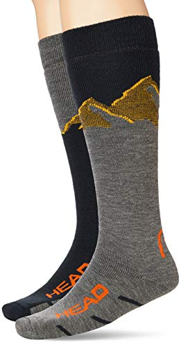 Head Mountain Graphic Kneehigh Ski Socks (2 Pack) Calcetines de esquí, rojo/gris/azul,...