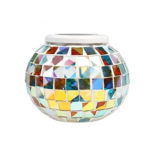 Changement de couleur Mosaïque Boule de verre à mosaïque LED Solaire Jardin Lights Solar Table Lumières 2 modes pour la décoration de fête de Noël (Emitting Color : 1pc)
