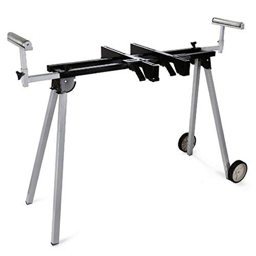 EBERTH 2700 mm Support universel pour Scie à onglet (136 kg Capacité de charge, 830 mm Hauteur de la table, Pliable, Roues de transport)
