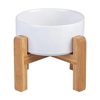 HCHLQLZ Blanc Hauteur Porte-gamelle Surélevée Pet Gamelles pour Chien et Chat Gamelles Chien Chat Céramique avec Bambou Support en Bois