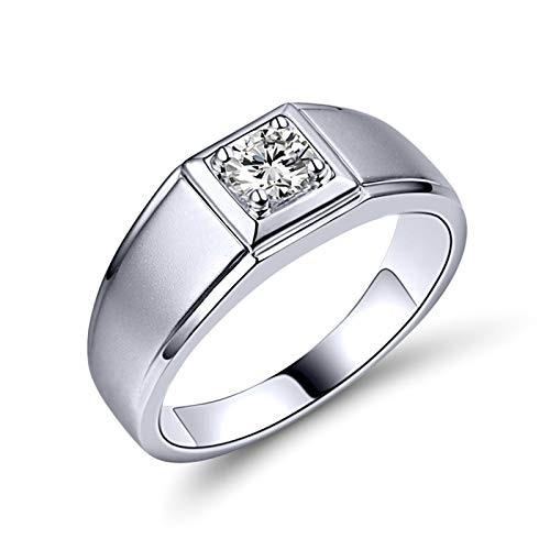 Bishilin Anillo Compromiso Oro Blanco 750, Diamante Redondo Cuadrado Bandas de Boda 0.3 Quilates de Diamante Elegante Anillo de Compromiso Anillo de Aniversario Oro Blanco Talla: 26