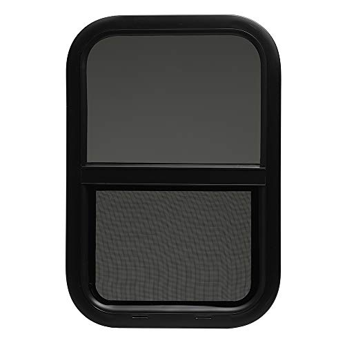 ToughGrade Vertical Sliding Black RV Window 14' X 22' X 1 1/2' Includes Mounting Ring and Bottom Screen
