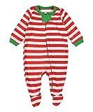 elowel | Pijama Unisexo | Ropa De Dormir De Lana Caliente| 1 Pieza | Pijama De Pie | Cálido Y Tierno | 100% Poliéster | Tamaño: 4 Años (104) | Colro: Rayas Rojas Y Blancas