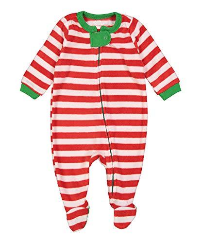 elowel | Pyjama | Schlafanzug | Unisex | Jungen, Mädchen | Fleece | Stylish, Bequem, Weich | Strampler | Einteiler | mit Füßen | 100% Polyester Größe: 5 Jahre (110) | Design: Rot-Weiß Gestreift