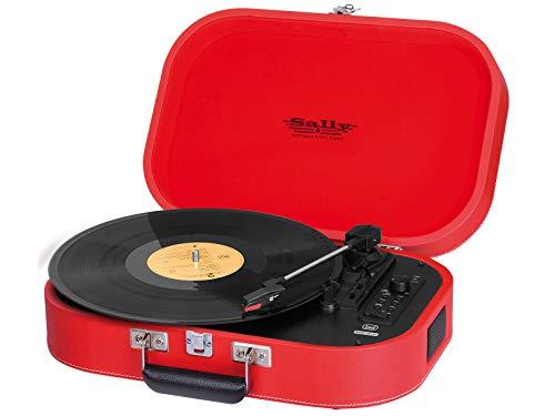 Trevi TT 1020 BT Giradischi Stereo Vintage Portatile con Bluetooth, Mp3, USB e Funzione Encoding, Rosso
