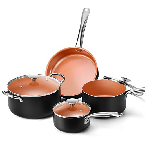 Copper Nonstick Cookware Set - Pans and Pots, All Stove Tops Compatible, Oven-Safe, Multi-Ply,...