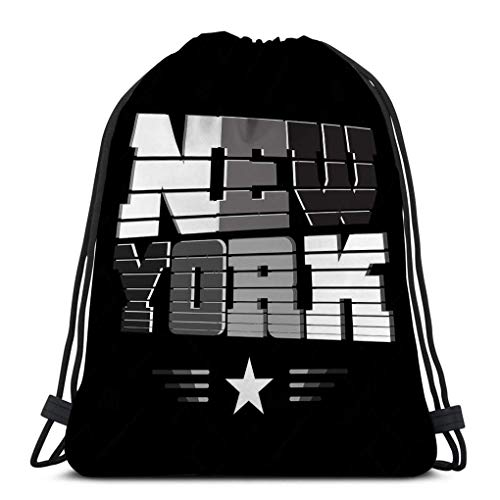 Lsjuee Gym Drawstring Bags Lightweight Canvas Dance Bags Backpack Sport for Men & Women New York Black White Gray Star Typography Athletic Style NYC Fashion Stylish Print Sports wear Emblem