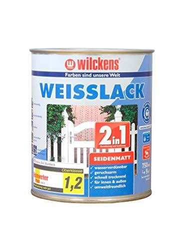 Weisslack 2in1 seidenmatt 750 ml Lack weiß Innen Außen ca. 30 m² Lackfarbe Grundanstrich Deckanstrich Blauer Engel Dispersion