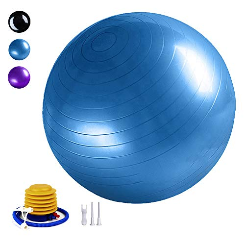TownCat Gymnastikball Extra Dicker Yoga-Ball(65cm), Fitnessball Yoga & Pilates, Sitzball Büro, Balance Ball inklusive Luftpumpe(Blau)