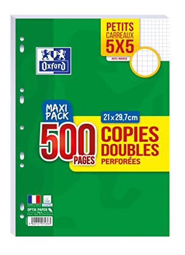 OXFORD Lot de 500 Pages Copies Doubles Perforées A4 (21 x 29,7cm) 90g Petits Carreaux 5x5mm - Maxi Pack
