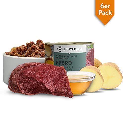 Pets Deli Aliments humides pour Chiens 1,2 kg - Lot de 6   Cheval avec Pommes de Terre et Huile de carthame - Aliments pour Chiens avec 70% de Viande   sans céréales et sans additifs inutiles
