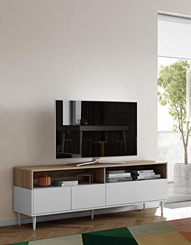 Symbiosis Horizon , Mobile porta TV, Bianco (Bianco/Rovere), 180 x 40 x 61 cm