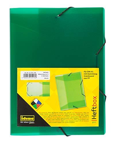 Idena 225416 - Heftbox für DIN A5 mit Gummizug, aus PP, Füllhöhe 3,5 cm, transluzent apfelgrün, 1 Stück