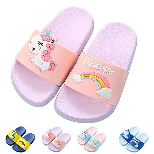 HausFine Zapatos de Ducha, Playa y Piscina Sandalias de Baño Antideslizantes Sandalias de Unicornio para niños y niñas (Púrpura, 34)
