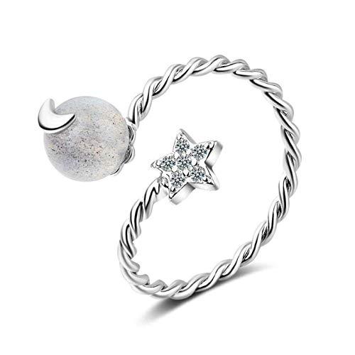 Anillo decorativo abierto para mujer, anillo vintage de piedra lunar con diseño de estrella torcida unisex ajustable de plata de ley 925, joyería de regalo para bodas, bailes, cumpleaños, aniversarios
