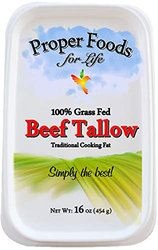 Proper Food's 100% Grass-Fed Beef Tallow - Pasture Raised - For Cooking, Baking & Frying - 16 oz