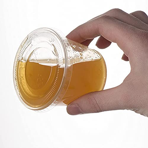 Disposable Plastic Cup Disposable Plastic Cup with lid, Souffle Cup, Jelly Cup (Color : 60ML (2 OZ), Number of Pcs : 100pcs)