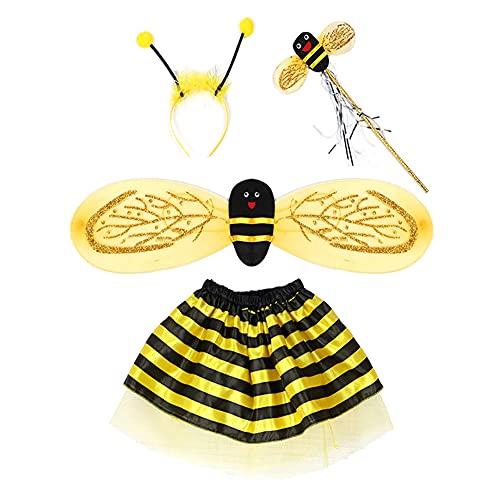 Proumhang 4 pezzi costume cosplay ape per bambini con gonna con fascia per capelli con ali,performance sul palcoscenico scolastico, giochi di ruolo, Halloween, per altezza inferiore a 1,4 m