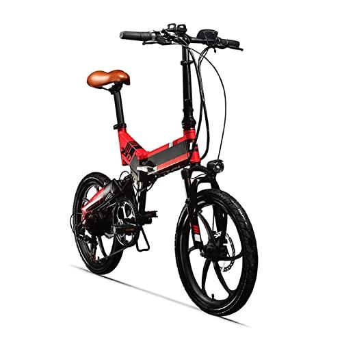 Liu Yu·casa creativa Bicicletas eléctricas for Adultos Plegables 25 0w 48v 8 AH Hidden Battery Dobling Bicicleta eléctrica 7 Velocidad Bicicleta eléctrica (Color : Black-Red)