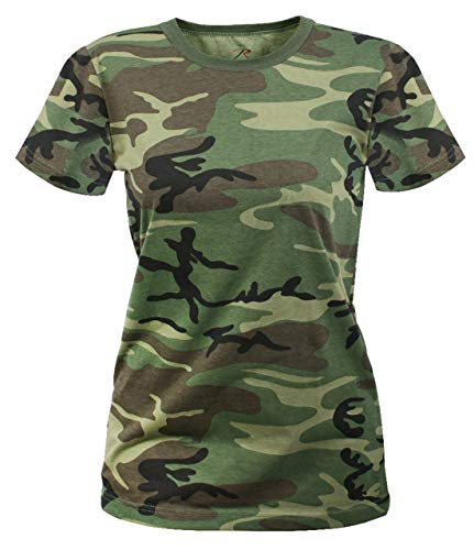 Rothco Womens Long Length Camo T-Shirt, XL, Woodland Camo