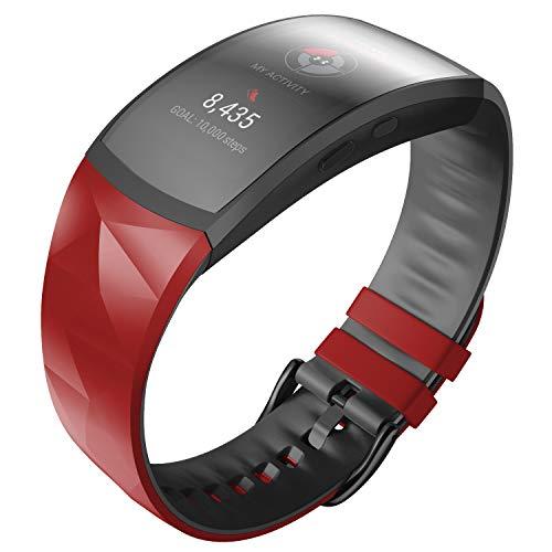 ANBEST Pulsera de Silicona Compatible con Samsung Gear Fit 2/Gear Fit 2 Pro Correa de Repuesto para Gear Fit 2 Pro SM365/Gear Fit 2 SM-360 Smart Watch, Grande, Rojo/Negro