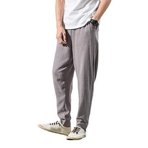 Pantalon pour Hommes Style Chinois Lin Section Mince Pantalon décontracté lâche Grande Taille Pantalon Harlan Nine Points